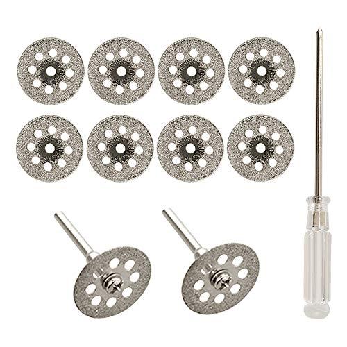 Diamanttrennscheibe, 10 Stück 22mm Mini Diamant Sägeblatt Trennscheibenradsatz mit Dorn (3mm) und Schraubendreher für Präzisionswerkzeuge Glas Edelsteine Trennscheiben