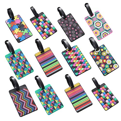 TOYANDONA 12pcs Luggage Tags Baggage ID Personalized Soft Rubber Name Suitcase Tag Travel Check Labels for Women Men Baggage