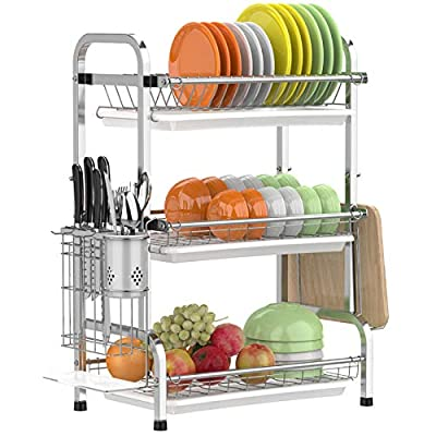 GSlife Dish Drying Rack, 3 Tier Dish Rack Stain...