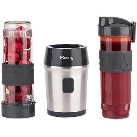 H.Koenig Mini Blender Smoothie Transportable Compact 570mL SMOO9 Sans BPA Puissant 300W, Mixeur à Smoothie 2 Bouteilles Portables, 4 Lames en Inox, 2 gourdes avec couvercles de voyage incluses