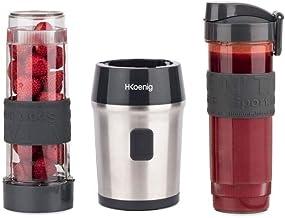 H.Koenig Mini Blender Smoothie Transportable Compact 570mL SMOO9 Sans BPA Puissant 300W, Mixeur à Smoothie 2 Bouteilles Po...