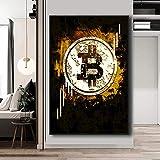 Liuxz Colección financiera Valor Bitcoin Pinturas en Lienzo Dinero Pared Arte Carteles Impresiones Cuadros de Pared para decoración de Cuadros de Pared de Oficina Sin Marco