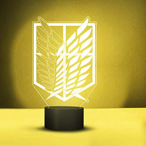 YOURLIVINGART LED-Lampe mit 3D-Darstellung von Attack on Titan, sechs wechselnde Farben, dekorative Lampe aus Acryl, mit Fernbedienung, Nachtlicht, einzigartige und coole Geschenkidee für AOT-Fans