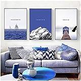 Blue Sea Water Adorno Picture Only Beautiful Scenery Hangs Picture Habitación contemporánea y contratada -50x70cmx3 Sin marco