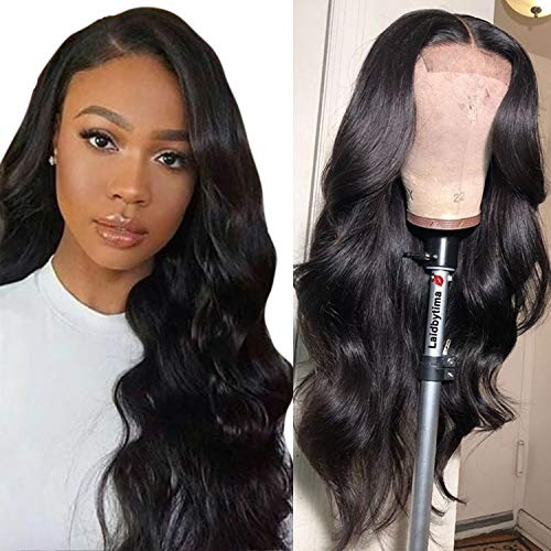 """16inch 100% Human Hair Wigs Body Wave 4x4Inch Lace Closure Wig Brazilian Hair Wigs For Black Women 130% Density Virgin Hair Wigs Natural Color 10-20inches (16"""", Natural Color)"""