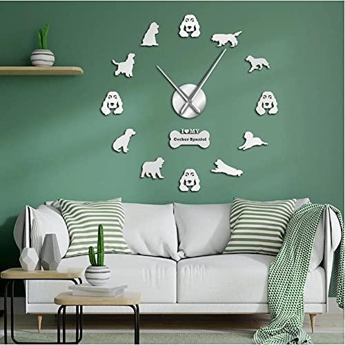 JKLMZYT Cocker Spaniels Efecto Espejo Pegatinas de Pared Reloj de Pared Grande DIY Perro Dueños de Mascotas Decoración del hogar Cockers Arte de la Pared Reloj de Pared colgante-47inch