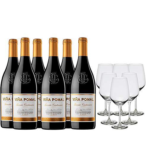 Viña Pomal Pack Vino Tinto - 6 botellas de Viña Pomal Terruño Centenario Reserva de 75cl + 6 copas - 4500 ml