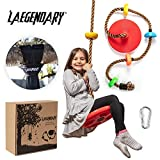 LÆGENDARY Climbing Rope Tree Swing with Platforms and Disc Swings Seat - Playground Swingset Outdoor Accessories for Kids - Trees House Tire Flying Saucer Swing Outside Toys