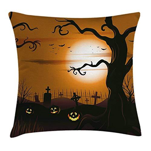 Halloween Kussensloop, Magic Castle Silhouette Over Full Moon Night Fantasy Landscape Scary Forest, decoratieve vierkante Accent kussensloop, 18 X 18 inch, grijs lichtgrijs