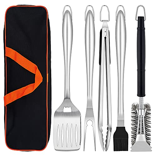 Herogo BBQ Tool Sets, 6 Piece Heavy Duty Stainless Steel Barbecue Accessories with Portable Bag, BBQ Utensil Set Includes Spatula, Fork, Tong and Cleaning Brush, Grill Tool for Outdoor Camping Picnic