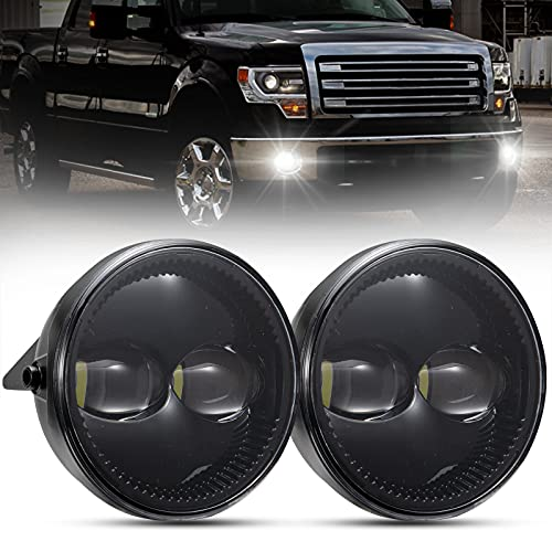"""BUNKER INDUST f150 LED Fog Lights Compatible with Ford F-150 2009 2010 2011 2012 2013 2014, 1 Pair OEM Replacement Front Bumper Driving 4.5"""" Round Fog Lamp Kit"""