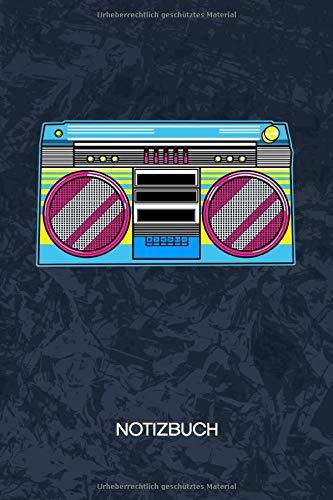 NOTIZBUCH: A5 Kariert - 120 Seiten KARO - Geschenkidee für Musikliebhaber Heft Musik Notizheft - 90er Hip Hop Notizblock Ghettoblaster Motiv - Musikliebhaber Geschenk Oldschool Hiphop