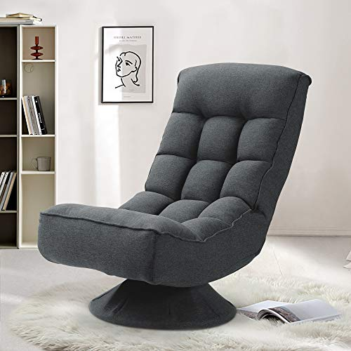Saemoza Folding Floor Gaming Chair,360 Degree Swivel Video Game Chair with 5 Positions Adjustable, Soft Lazy Sofa for Reading Relax at Home(Dark Grey)
