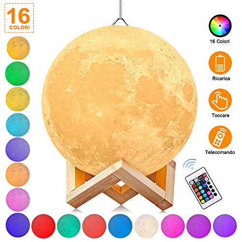 Luna Lampada Led, 3D Luna luce USB Ricaricabile 16 colori Moon Lamp Lampada led Luna Controllo e Telecomando, LED Mood Lights per Camera da Letto Illuminazione Speciale