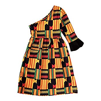 Toddler Kids Baby Girls One Shoulder Long Sleeve Sloping Shoulder African Dress Party Clothes for Little Girls 1-5T  Multicolor A  4-5 Years 130