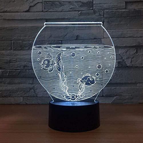 Led Veilleuses 3D Fish Tank Forme Acrylique 3D Veilleuse Led Illusion USB RGB Veilleuse Lampe De Bureau Décor À La Maison Cadeau De Vacances Ambiance Décor Lampe