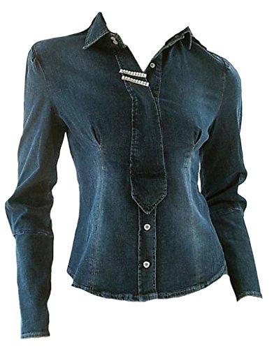 Fornarina Damen Jeans Jacke Blau Model Blizzy Cowgirl Stretch Strass Bluse Hemd 40 M
