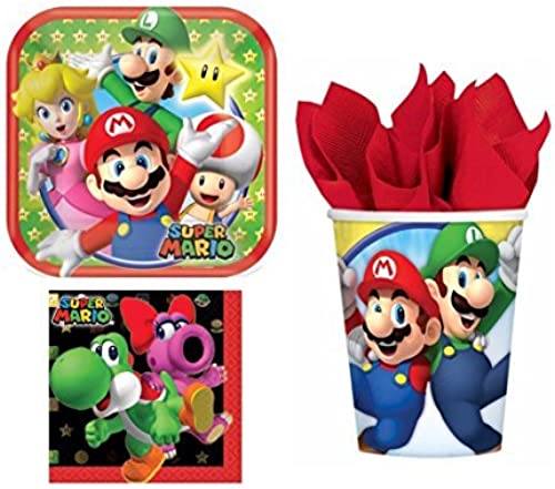 Super Mario Bros Party Pack for 8 Guests (32 Pieces) by Party Supplies