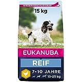 Premiumfutter für reife Hunde mittelgroßer Rassen (Gewicht von 10-25 kg) im Alter von 7-10 Jahren zur Unterstützung einer optimalen Körperkondition Da Hunde im Alter oft an Gewicht zunehmen, enthält die Rezeptur für reife Hunde L-Carnitin, das den Fe...