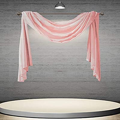 DONREN Luxury Sheer Window Scarf for Window - Treatment Add to Window Curtains for Enhanced Effect (Peach Pink,144 Inch Length,1 Panel)