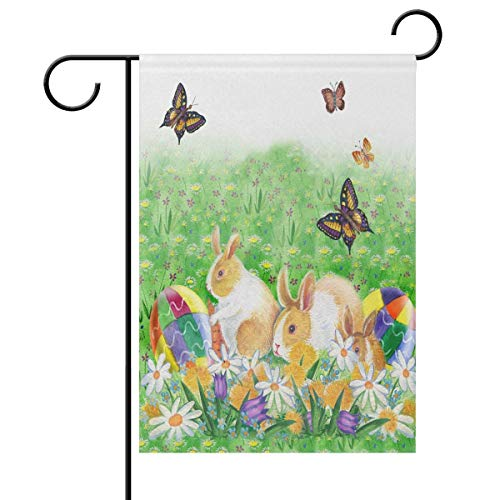 Sweetmen Easter Rabbit Bunny Eggs Spring Floral Butterfly Double Sided Polyester Garden Flag 12 X 18 Inches, Easter Holiday Decorative Flag for Party Yard Home Decor