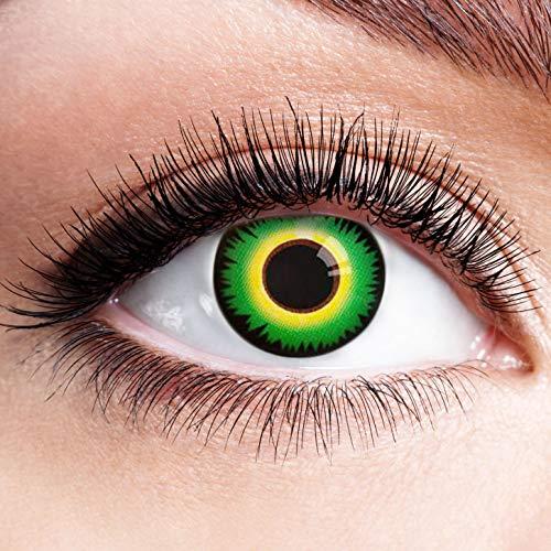 Farbige Kontaktlinsen Grün Motivlinsen Ohne Stärke mit Motiv Grüne Linsen Halloween Karneval Fasching Cosplay Kostüm Mad Hatter Hutmacher Green