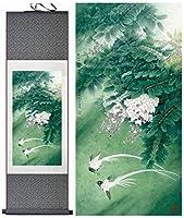 絵画 ウォールシルクスクロール吊り下げアートワーク絵画風景アート絵画家の装飾写真 MJZJP (Ukuran (Inci) : 140cmx45cm, Warna : Green package)