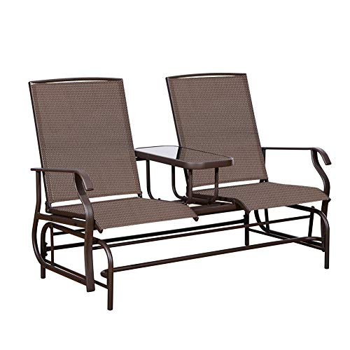 PatioPost Outdoor 2 Person Patio Mesh Fabric Loveseat Glider Chair w/Center Table,Mocha