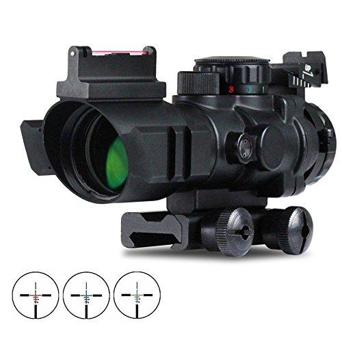VERY100 Zielfernrohr 4x32mm Leuchtpunktvisier mit Fiberoptic Red Green Dot Visier Zielger�t