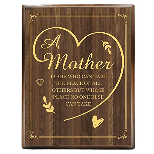 mom plaques Yuzi-n Mother Engraved Gold Wood Plaque, Gifts for Mother, Gifts for Mom