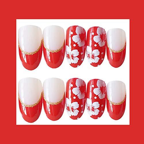 24 PCS Set Red Sakura Cherry Blossom Printing Press On Nails Christmas Red False Nails Fake Nails with Glue and Adhesive Tab 4