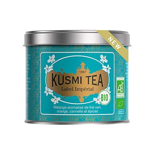 Kusmi Tea - Imperial Label BIO - Grüner Tee mit Orangenschalen, Zimt und Gewürzen, aromatisiert - 100 g Metall Teedose (etwa 40 Tassen)