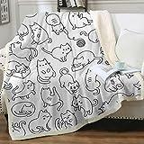 Sleepwish Cat Blanket Twin Size Sherpa Throw Blanket Super Soft Reversible Ultra Luxurious Plush Blanket Pet Fleece Bed Sofa Blanket Cat Gifts for Women Her Him,White (60' X 80')