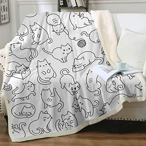 Sleepwish Cat Blankets and Throws Sherpa Throw Blanket Super Soft Reversible Ultra Luxurious Plush Blanket Pet Fleece Bed Sofa Blanket Cat Lovers for Kids Girls Women,White,Throw (50' X 60')