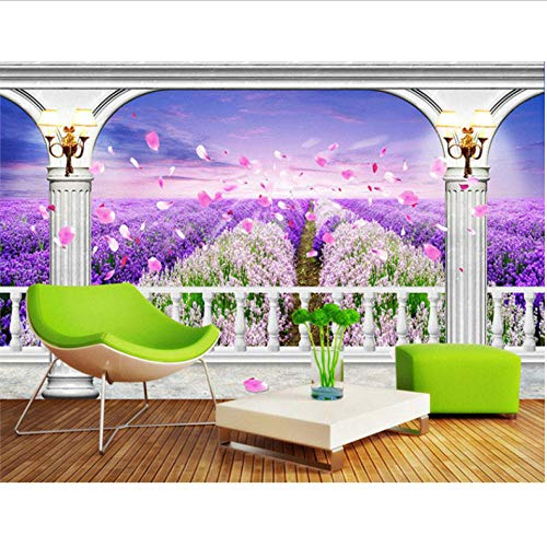 Dalxsh grote lavendelbloesems gepersonaliseerd 3D slaapkamer woonkamer TV linnen quarto papier 400 x 280 cm