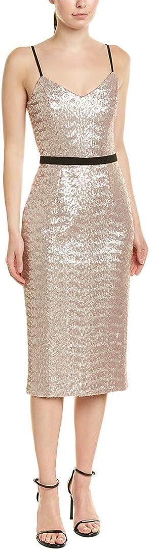 Dress the Population Women's Emma Sequin Sleeveless Fitted Midi Sheath Dress, Ice Pink, S