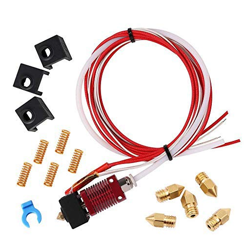 Creality Assembled MK8 Hotend Kit, 12V 40W CR 10 3D Printer Hot End for 1.75mm Filament with 5PCS Heated Bed Leveling Die Spring, 5PCS 0.4mm Nozzles, 3PCS Silicone Covers