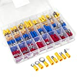 Ginsco 250Pcs Spade Crimp Terminal Assorted Insulated Wire Electrical Connectors Kit - Quick Disconnect Ring Spade Butt Splices Piggy Back