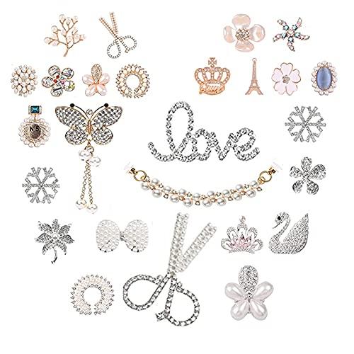 ZKTYQUIHE Amuletos Zapatos para Mujer, se Adapta a la decoración Las Sandalias obstrucción los amuletos de Diamante de Cristal la Moda para Las Mujeres Girl Fiesta de Regalos cumpleaños,26pcs