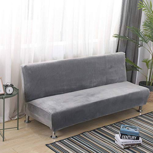 Armless Sofa Slipcover, Silver Fox Sofa Bed Cover, Elastic Spandex, Folding Couch Sofa Shield Futon Cover-F-long160-200cm wide90-110cm