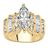 Palm Beach Jewelry 14K Yellow Gold Plated Marquise Cut Cubic Zirconia Step Top Engagement Ring Size 7