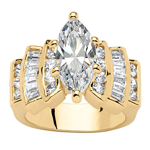 Palm Beach Jewelry 14K Yellow Gold Plated Marquise Cut Cubic Zirconia Step Top Engagement Ring Size 8
