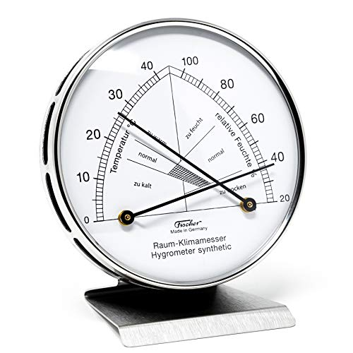 Fischer 142.01-01 - Raum-Klimamesser - Synthetic-Hygrometer u. Bimetall-Thermometer - Edelstahl-Standfuß Made in Germany