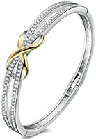 Angelady ❤Cendrillon Classique Bracelet Argent Femme Bracelet Or Rose avec des Cristaux, Bracelet Femme Cadeau Valentin...