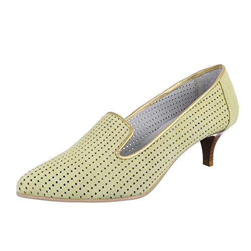 Damen Schuhe, 4341, Pumps, Bequeme Komfort Leder, Wildleder, Hellgrün, Gr 40