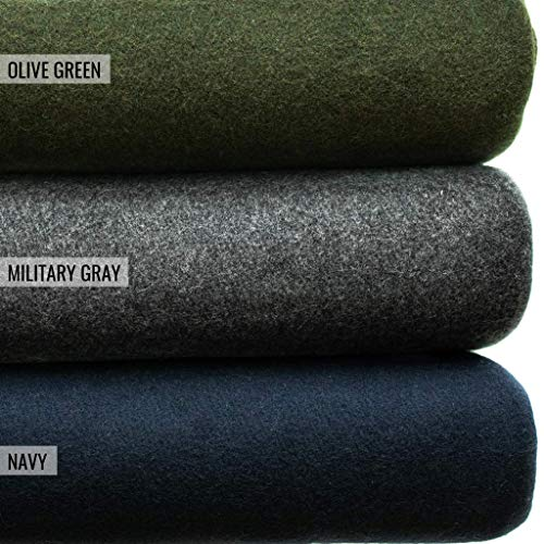 Military Wool Blanket Great for Camping, Outdoors, Survival and Emergency Kits (Olive Green)