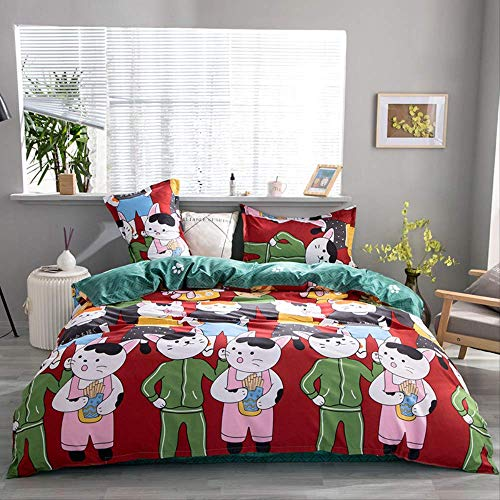 JOEYFAYE Children Cartoon Printed Duvet Cover Set, Microfiber Bedding With Pillowcase 50 * 75cm, Zipper Closure 230 * 260cm red