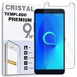 REY Protector de Pantalla para ALCATEL 3 (2018) - 3L (2018), Cristal Vidrio Templado Premium