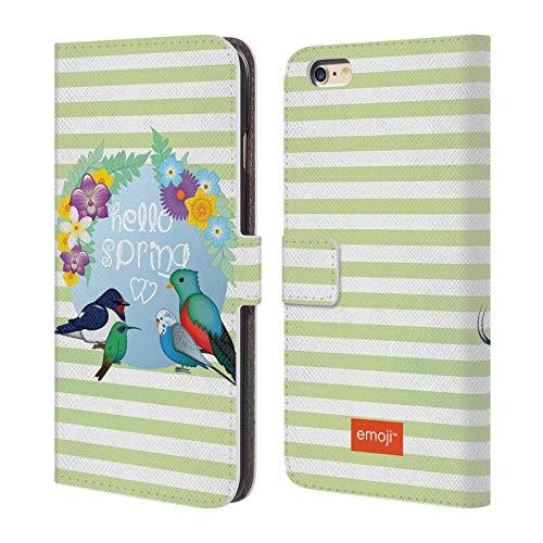 Head Case Designs Oficial Emoji Primavera Pájaros Carcasa de Cuero Tipo Libro Compatible con Apple iPhone 6 Plus/iPhone 6s Plus