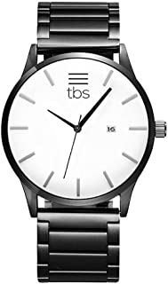 TBS Designer Mens Watch- Gunmetal Grey Stainless Steel- Premium Japanese Quartz Movement- Classic Minimalist Design- Ghost White Edition